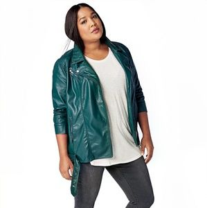 Green Justfab Oversized Biker Jacket 1x new